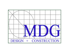 MDG Design and Construction logo.